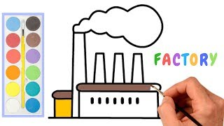 Factory Drawing How to draw environment pollution step by step (easy draw) | Factory Smoke drawing