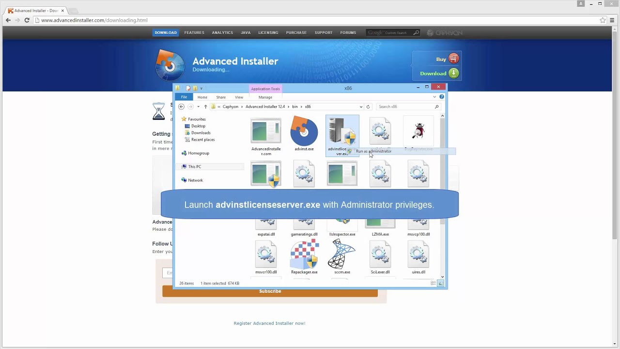 Register Advanced Installer with a floating license server