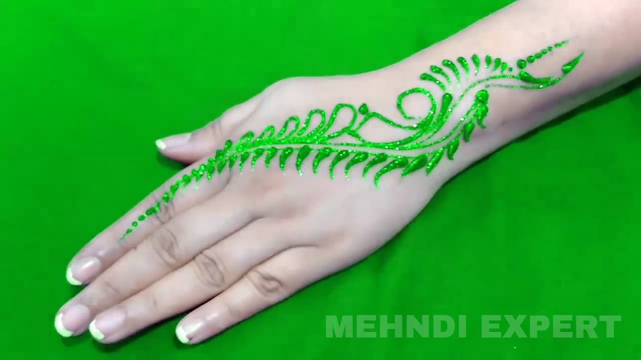 New Easy And Quick Green Color Glitter Mehndi Design For Parties