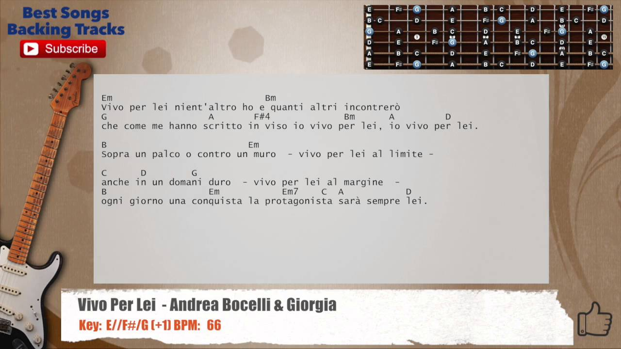 Vivo Per Lei Andrea Bocelli Giorgia Guitar Italian Backing Track With Chords And Lyrics Youtube