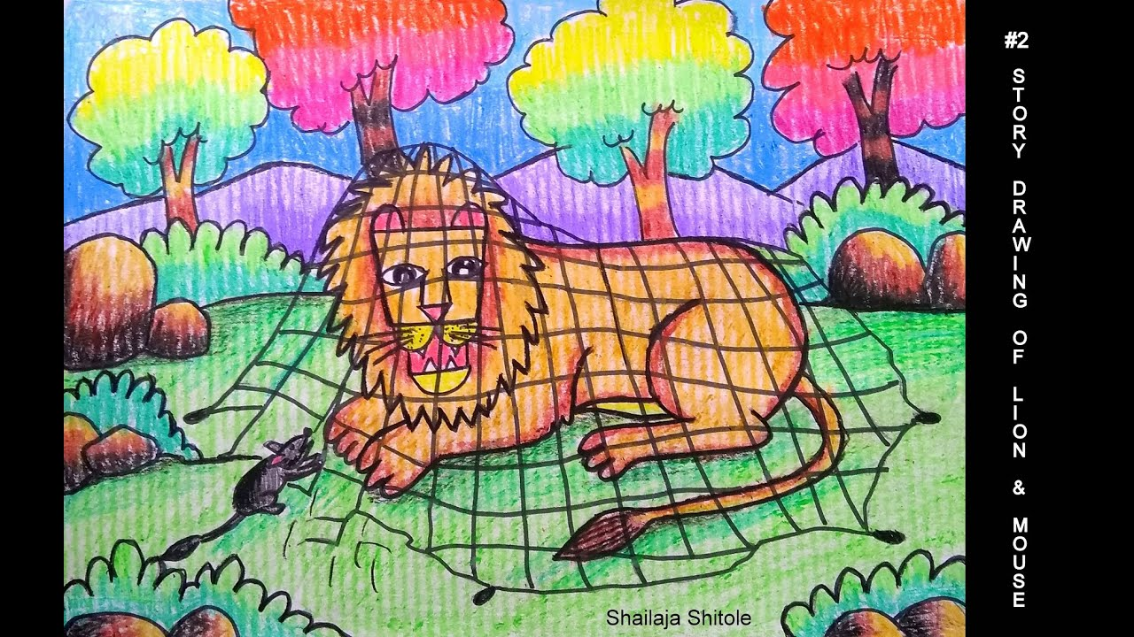 Part 2 Step By Step Drawing Of The Lion And The Mouse Story Youtube