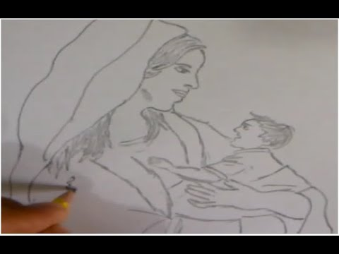 Draw A Mother Hugging Her Son رسم أم تحضن ابنها Youtube