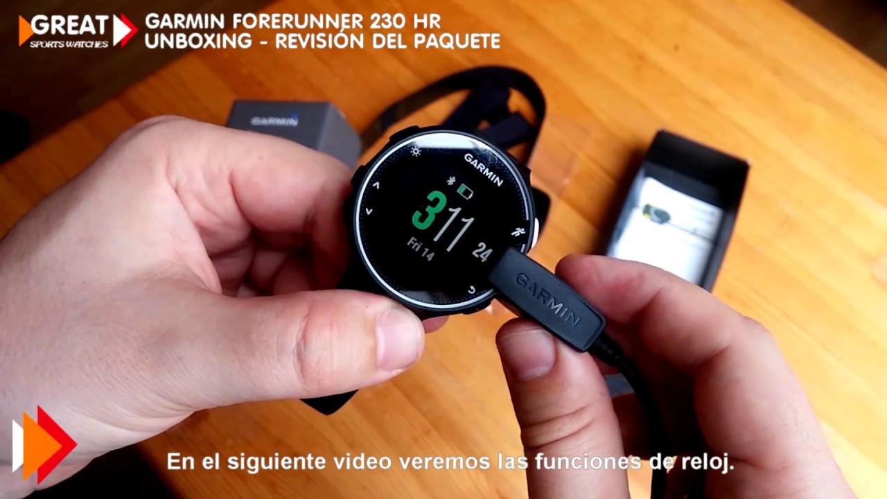 228700e8e6c8 Garmin Forerunner 230 HR - UNBOXING - Revisión del paquete I Great Sports  Watches