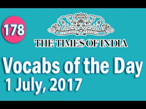 The Times of India Vocabulary (1 July, 2017) - Learn 10 New Words with Tricks | Day-178