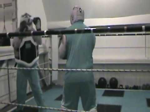 Howard Farmer (CBC) sparring Coach Randy Schmidt