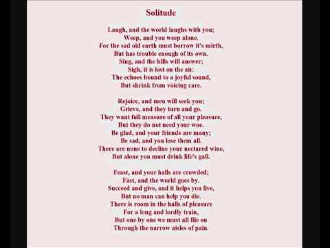 Ella Wheeler Wilcox Poem Solitude Read By Emma