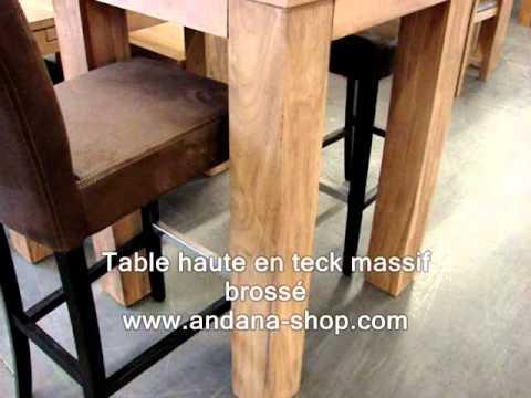 Table haute en teck massif brossé - YouTube