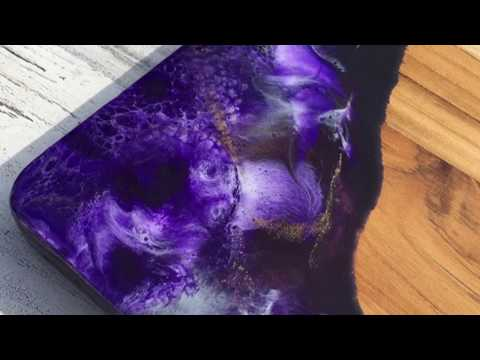 Epoxy Resin Purple Cheese Board Pour by Diana Art Studio