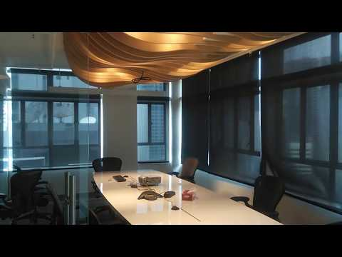 Motorized Roller Blinds With Black Colour Sunscreen Fabric.