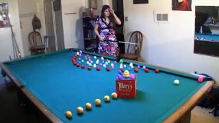 Four Easter Trick Shots With Mary Avina On Snooker Billiard Table