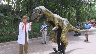 Meet Professor Parker Woodson and her pet velociraptor in Dinoland at Disney