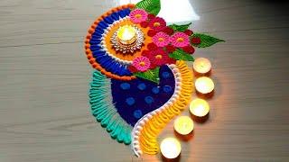 Beautiful & innovative rangoli for Diwali/Dasara/dasehara rangoli design
