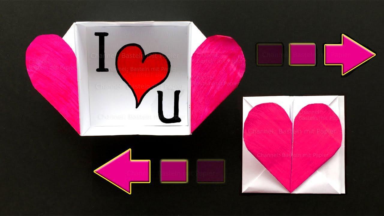 Origami herz box basteln mit papier origami brief bastelideen diy geschenke f ow youtube - Origami boite coeur ...