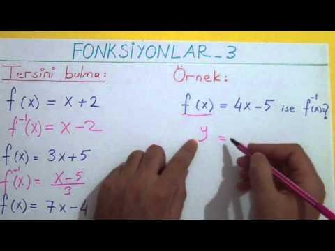 Fonksiyonlar 3 Fonksiyonun Tersi Şenol Hoca Matematik