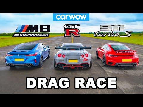Porsche 911 Turbo v BMW M8 v Nissan GT-R: DRAG RACE