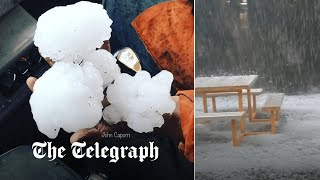 video: Watch: Grapefruit-sized hailstones smash windscreens in Australia