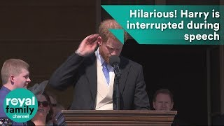 That bee really got me! Hilarious moment Prince Harry is interrupted during speech