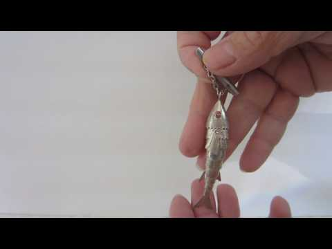 Vintage Sterling Silver Articulated Fish Pin With  C Clasp Closure