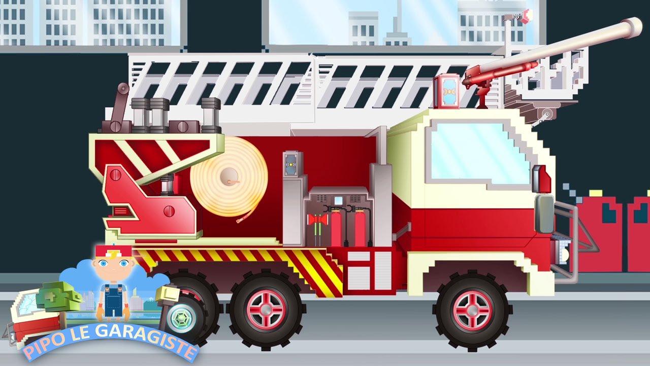 Camion de pompier pipo et sa d panneuse dessin anim en - Dessiner un camion de pompier ...