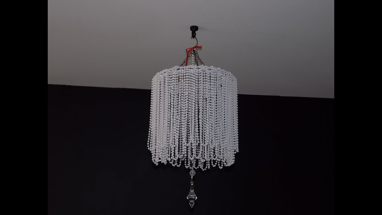 DIY BEADED CHANDELIER CHEAP EASY - YouTube