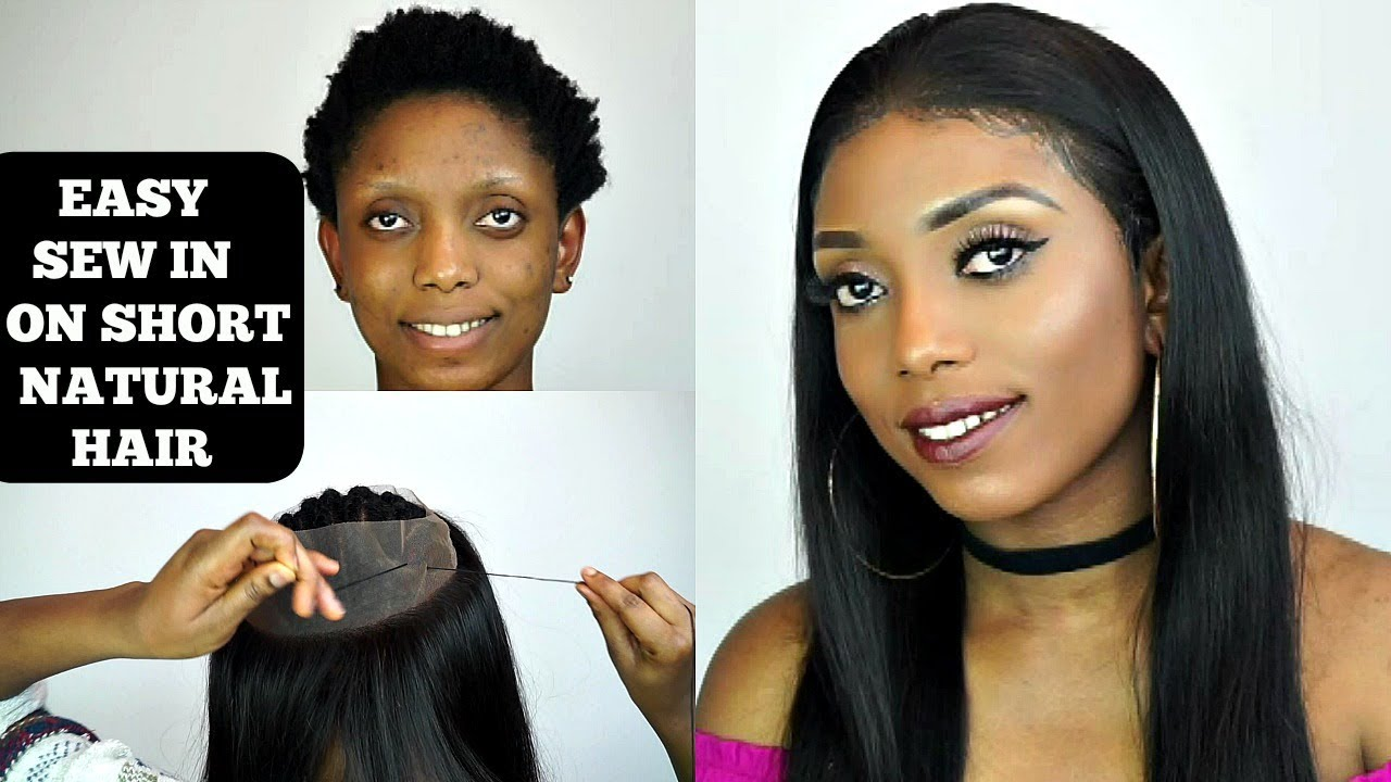 How To Do A Full Sew In On Short Natural Hair For Beginners West Kiss Hair Youtube