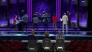 David, Amanda, Fanny, Saron och Joakim i gruppmomentet av Idols slutaudition - Idol Sverige (TV4)