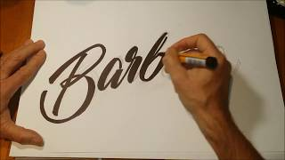 Hand drawn pencil and pen script italic lettering - Barbara