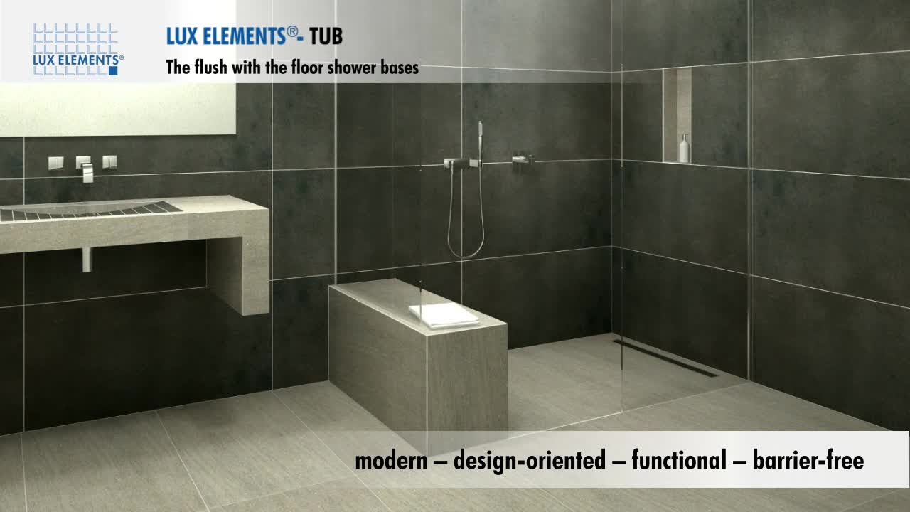 LUX ELEMENTS product flush with the floor showers for