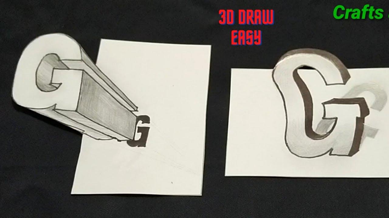 "3D Rendering ART   How To Draw 3D Letter ""G""! Easy 3D Trick Art"