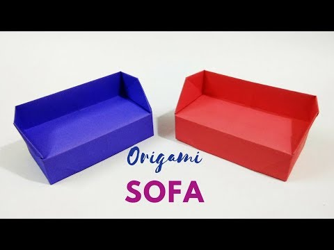 DIY - Origami Sofa | How to Make a Paper Sofa / Couch |  Origami Dollhouse Furniture | Craftastic