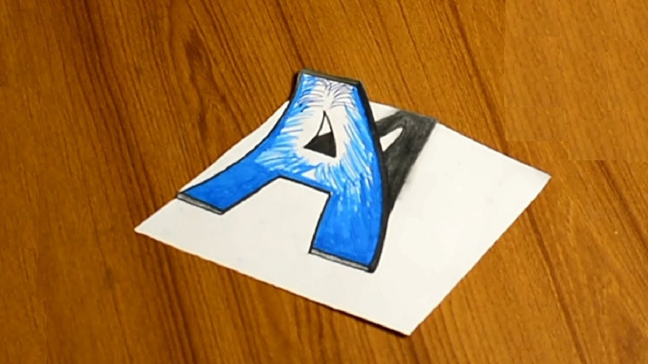 How To Draw 3d Drawing Letter A Step By Step Drawing Ideas Lessons