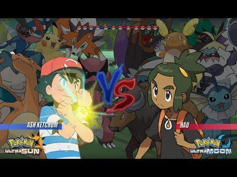 Pokemon Battle USUM: Ash Vs Hau (Pokémon Alola Face Off!)