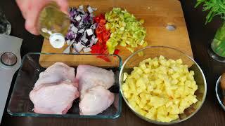 Курица с картошкой и овощами запечённая в духовке Простой рецепт на ужин