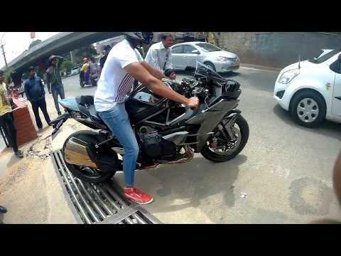 Kawasaki ninja H2 Supercharged 2017 in Bangalore ||Walk around || Exhaust