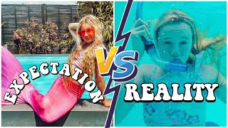EXPECTATION VS REALITY MEERJUNGFRAUEN SCHWIMMEN IM POOL | MaVie Noelle