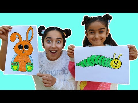 Esma  and Asya with animal pictures painting