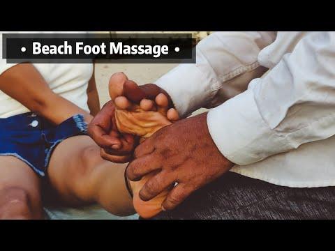 Foot Reflexology   Indian Barber   Foot Massage at Juhu Beach   ASMR