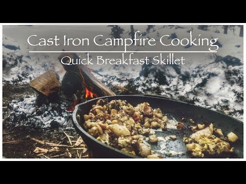 Cast Iron Campfire Cooking | How To | Bacon Eggs And Hash Browns