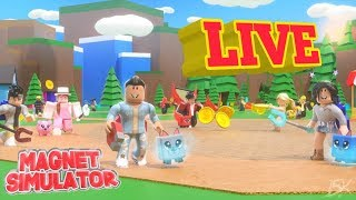 NEW UPDATE IN MAGNET SIMULATOR!!! GIVEAWAY!!!! ROBLOX LIVE STREAM!! FAMILY FRIENDLY!
