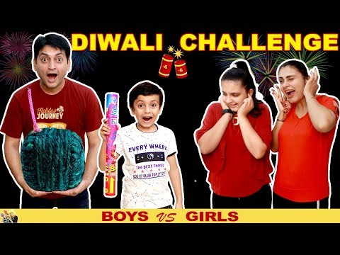 DIWALI CHALLENGE Girls vs Boys #Funny #Family Green Crackers