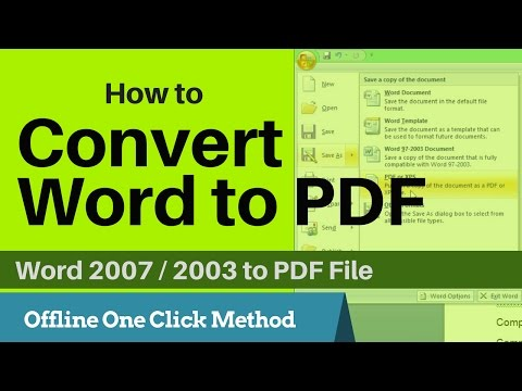 Hindi | How To Convert Word Document To Pdf File | Add On For Office 2007 And 2003 | Offline Method