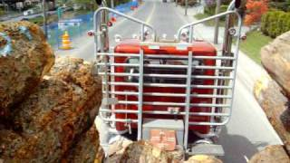 Peterbilt logging truck with VERY LOUD PIPES!