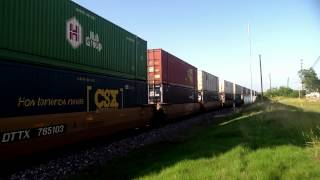 UP #7502 Leads A Monster Southbound Intermodal Through A Siding In San Antonio