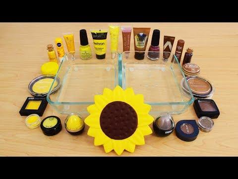 Sunflower - Mixing Makeup Eyeshadow Into Slime! Special Series 129 Satisfying Slime Video