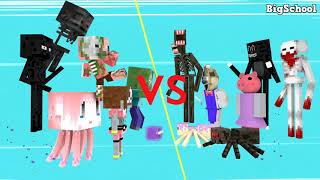 Monster School : Siren Head, SCP-096, Piggy, Catoon Cat, Ice Scream vs Monster - Minecraft Animation