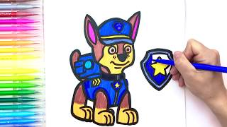 PAW PATROL Art Set with Markers, Paw Patrol badges|Chase
