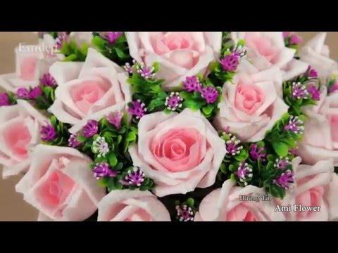 Làm hoa hồng bằng giấy nhún