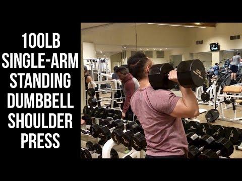 100LB Single-Arm Standing Dumbbell Shoulder Press