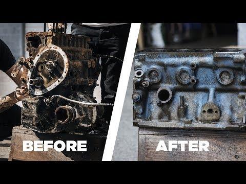 De-rusting an old engine block for rebuilding
