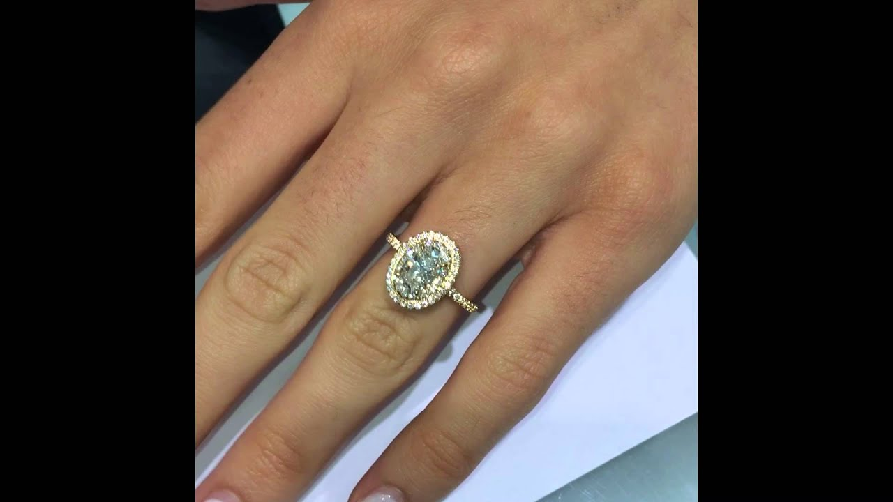 Oval cut Diamond Engagement Ring in Yellow Gold Double Halo YouTube
